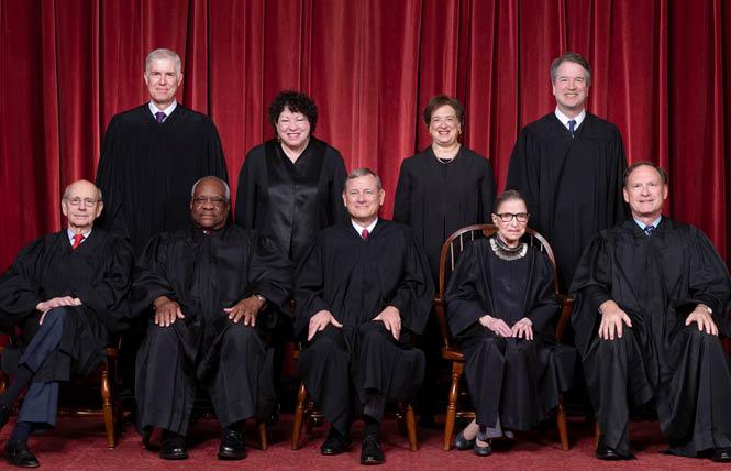 The U.S. Supreme Court justices heard oral arguments this week via telephone conference call in two cases that could impact the LGBT community. Photo: Courtesy U.S. Supreme Court