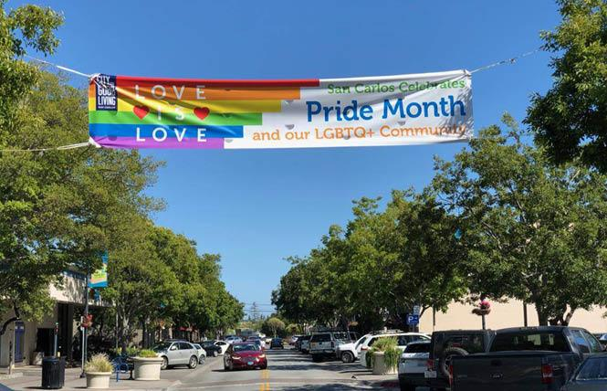 San Carlos celebrated Pride Month last June in part by hanging a banner in its downtown area. Photo: Courtesy Facebook
