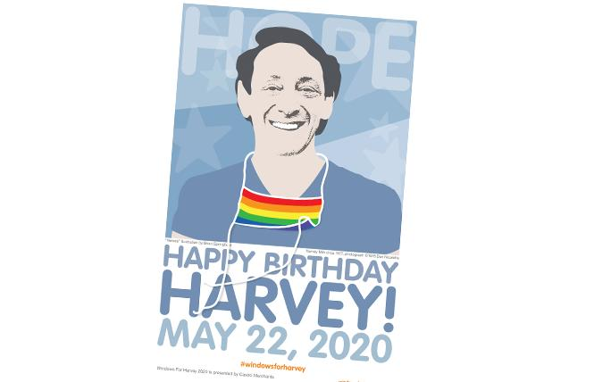Brian Springfield reworked Dan Nicoletta's iconic photograph of Harvey Milk for the COVID-19 era as part of this year's reimagined Windows for Harvey Display. Photo: Brian Springfield