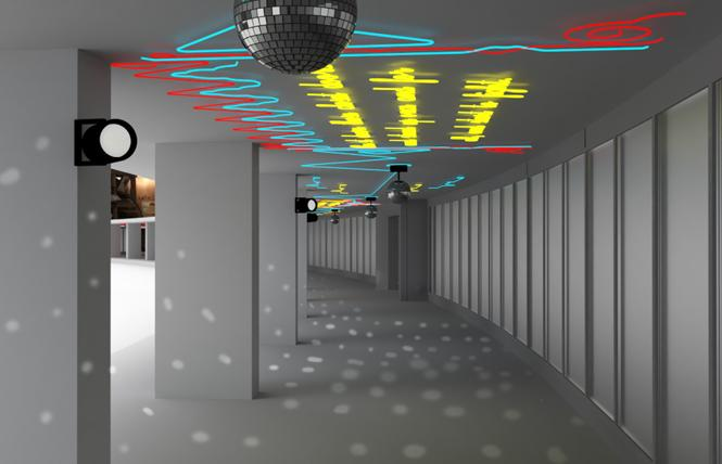 Disco balls and neon quotes from Harvey Milk are planned for the underpass in front of the arrivals area outside Harvey Milk Terminal 1. Photo: Artist's rendering courtesy Andrea Bowers