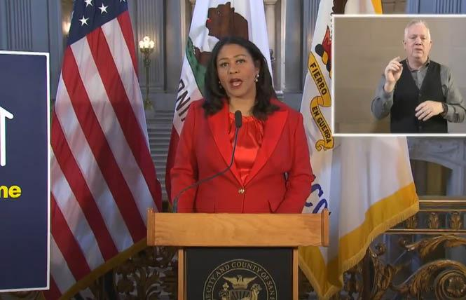 In a virtual news conference from City Hall Thursday, San Francisco Mayor London Breed announced that more of the city will reopen starting in June and continuing through August. Photo: Screenshot