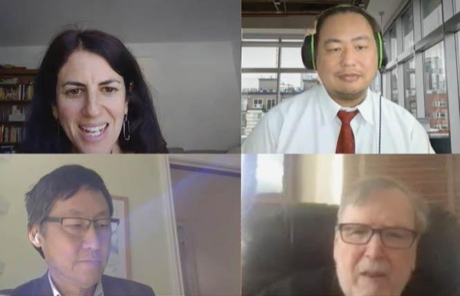 Clockwise from top left, Supervisor Hillary Ronen, rules committee clerk Victor Young, Larry Bush, and Supervisor Gordon Mar shown at a virtual hearing Monday for Bush's application to serve on the ethics commission. Photo: Screengrab via SFGovTV