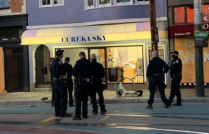 San Francisco police were called early Thursday to a report of a break-in at Eureka Sky, a cannabis retail store in the Castro. Photo: Michael Yamashita