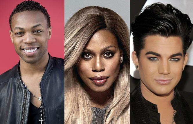 Actor and director Todrick Hall, left, is part of the Global Pride livestream event June 27, along with actor Laverne Cox and singer Adam Lambert. Photos: Hall, courtesy IMDb; Cox, courtesy CalPerformances.org; Lambert, courtesy Biography.com