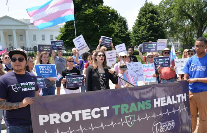 Harper Jean Tobin, center, speaks at a rally for transgender health in front of the White House on May 29, 2019. (Washington Blade photo by Michael Key)