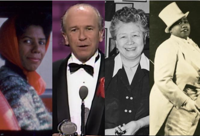 author Lorraine Hansberry, playwright Terrence McNally, Dr. Margaret Chung, and musician Gladys Bentley.
