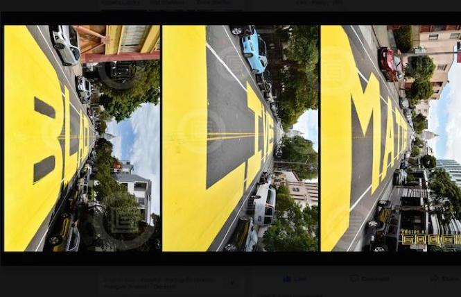 photographer Gooch captured a unique angle with his photo triptych of the new Black Lives Matter mural in San Fransico's Western Addition