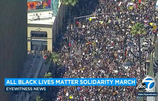 Thousands of people took part in the All Black Lives Matter solidarity march in West Hollywood June 14. Photo: Courtesy ABC7 News
