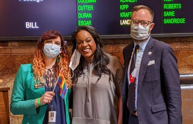 Colorado state Representative Brianna Titone, left, joined her colleagues state Representative Leslie Herod and state Representative Matt Soper who helped pass a pro-trans bill. Photo: Courtesy Rep. Brianna Titone