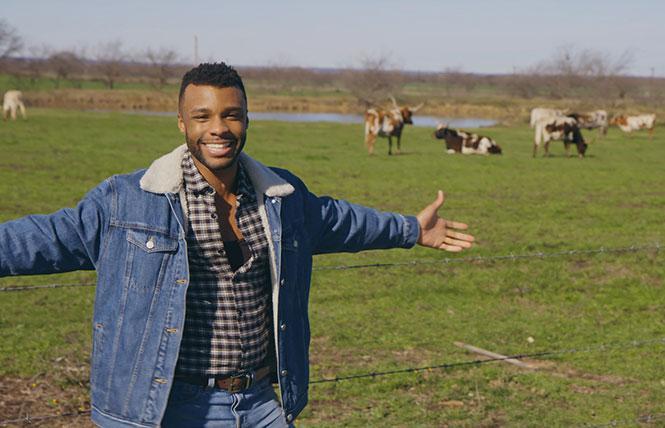 'Prideland' host Dyllón Burnside in Texas in the PBS series. photo: Eric Billman