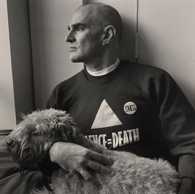 Larry Kramer at his New York City home in 1989