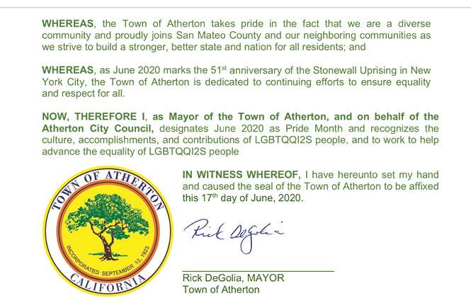 Atherton Mayor Rick DeGolia signed a Pride Month proclamation, which was presented Wednesday night. Photo: Via screengrab