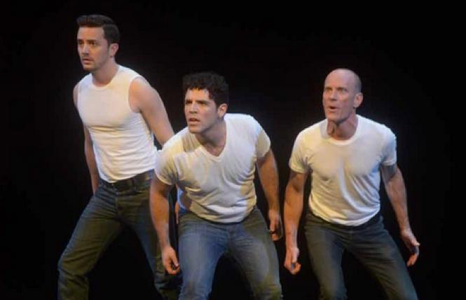 David Drake (right) and cast members in the 20th anniversay production of 'The Night Larry Kramer Kissed Me.'
