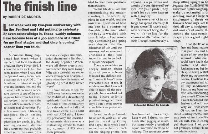 Robert De Andreis' June 21, 1995 column in the San Francisco Sentinel.