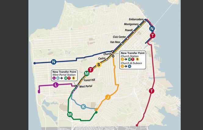 Muni's subway map will change come August, when the lines are expected to reopen. Photo: Courtesy SFMTA