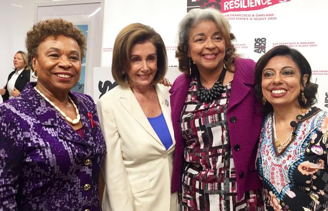 Congresswoman Barbara Lee, left, and House Speaker Nancy Pelosi joined AIDS 2020 co-chairs Cynthia Carey-Grant and Dr. Monica Gandhi at a news conference in San Francisco last fall. Photo: Liz Highleyman