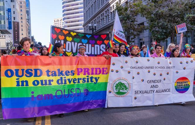 The Oakland Unified School District and its Gender and Sexuality Alliance were one of many contingents in the sixth annual Oakland Pride parade Sunday, September 8, 2019. Photo: Jane Philomen Cleland