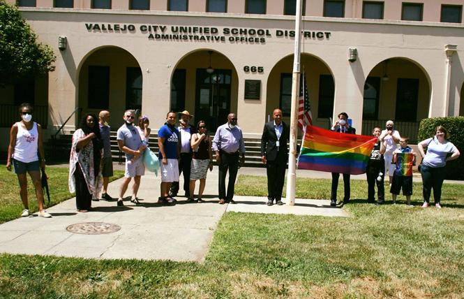 The Vallejo City Unified School District raised the rainbow flag June 4. Photo: Courtesy Solano Pride Center