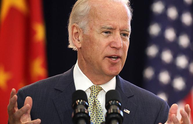 Presumptive Democratic presidential nominee Joseph R. Biden Jr. on Friday appeared with his wife in a video for Stonewall Day. Photo: Biden for president campaign