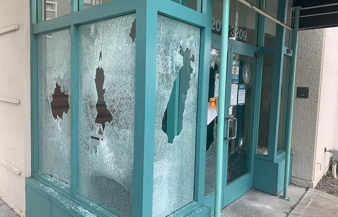 The Oakland LGBTQ Community Center was struck by a vandal Saturday morning. Photo: Courtesy Joe Hawkins