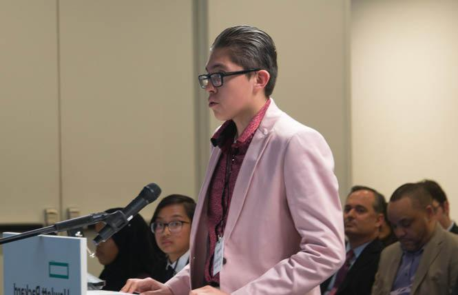 Angel Armenta, then of Oak Grove High School, argued his moot court case in 2018. Photo: Courtesy SVUDL