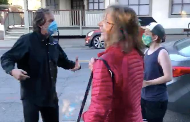 In a screenshot, a couple can be seen arguing with Jasper Lauter, far right. Photo: Courtesy Jasper Lauter