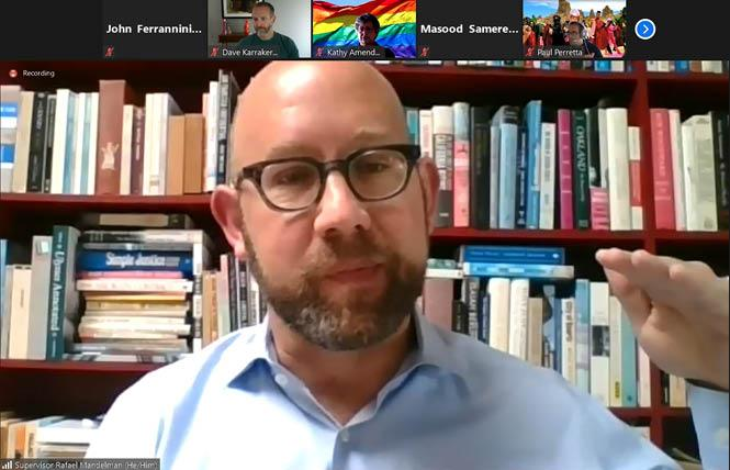 District 8 Supervisor Rafael Mandelman talks to members of Castro Merchants during a July 2 Zoom meeting. Photo: Screenshot via Zoom
