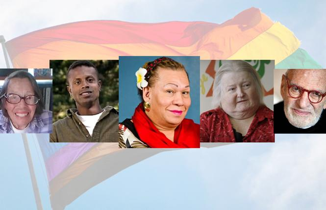 This year's Stonewall honor wall inductees are, from left, Phyllis Lyon, Sean Sasser, Lorena Borjas, Aimee Stephens, and Larry Kramer. Photos: Lyon, Joyce Newstat; Sasser, Courtesy CNN; Borjas, Courtesy NYCSpeakerCoJo/Twitter; Stephens, Courtesy ACLU