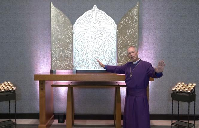 """Bishop Marc Handley Andrus gestured to the Keith Haring triptych altarpiece, """"The Life of Christ,"""" at AIDS Interfaith Memorial Chapel at San Francisco's Grace Cathedral during Tuesday's interfaith service. Photo: Screengrab via Grace Cathedral"""