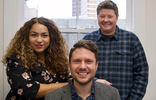 Felicia Medina, left, Kevin Love Hubbard, and Jen Orthwein are the three attorneys in the queer-owned law firm Medina Orthwein LLP. Photo: Courtesy Felicia Medina