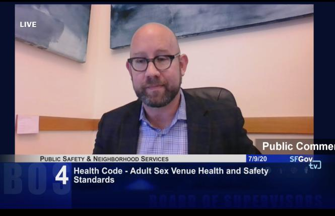 Supervisor Rafael Mandelman discussed his proposal to allow gay bathhouses in San Francisco during a Thursday hearing. Photo: Screengrab via SFGovTV