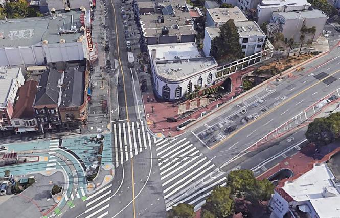 Looking south toward Castro Street and Harvey Milk Plaza. Photo: Courtesy TreanorHL via Google Earth, March 2018