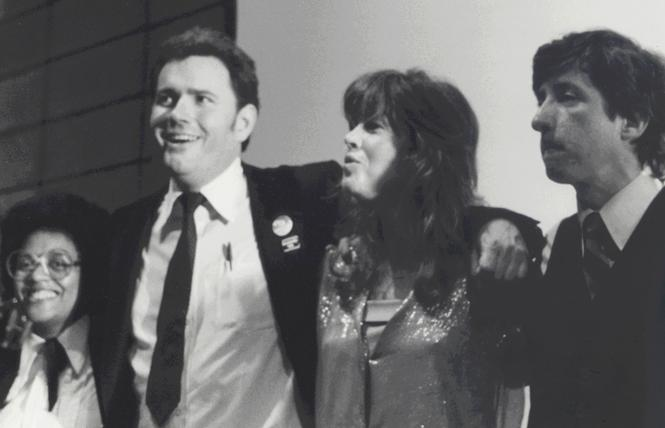 "Gwenn Craig, left, Supervisor Harry Britt, Jane Fonda, and Tom Hayden sing ""Happy Birthday"" to Harvey Milk at the annual dinner for the Harvey Milk LGBTQ Democratic Club, May 21, 1980. Photo: Dan Nicoletta"