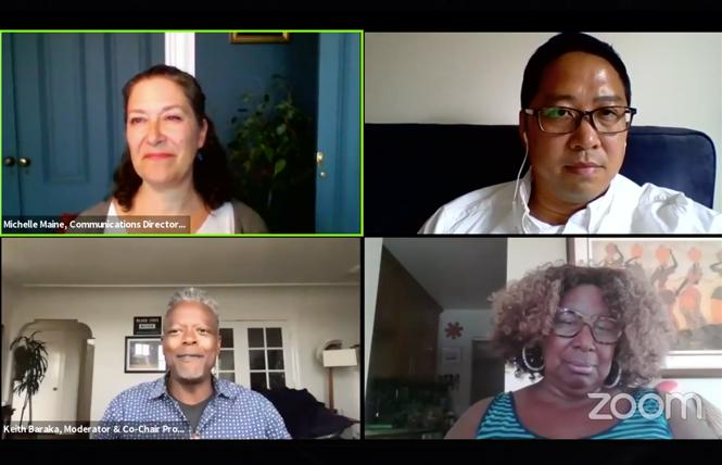 Clockwise from top left, Michelle Maine, Vincent Pan, Phelicia Jones, and Keith Baraka talked about racial justice and election issues during an Alice B. Toklas LGBT Democratic Club virtual meeting Monday. Photo: Screengrab via Zoom