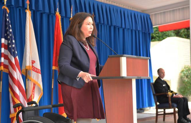 Senator Tammy Duckworth (D-Illinois) spoke at the Pentagon for the Department of Defense Pride event in 2019. (Washington Blade file photo by Michael Key)