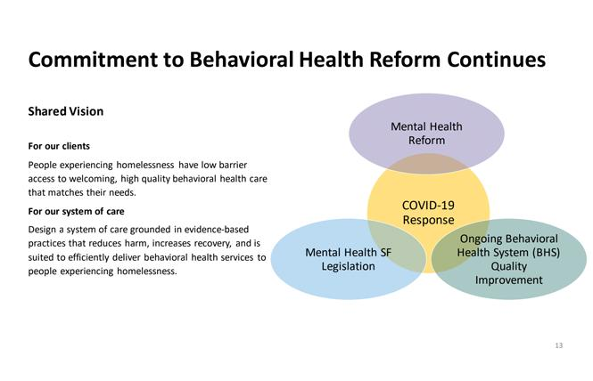 A slide from Dr. Anton Nigusse Bland's presentation to a Board of Supervisors committee last month shows how mental health reform is linked to the overall system of mental health care.