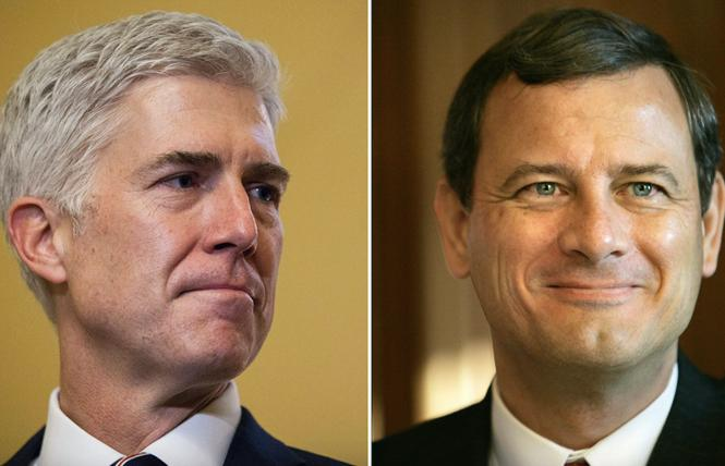 Justice Neil Gorsuch, left, and Chief Justice John Roberts. Photo: Courtesy CNN