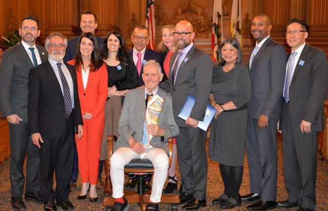 The Board of Supervisors in 2019 honored the late gay leader Harry Britt, seated, on the 40th anniversary of his appointment to the legislative body. Photo: Bill Wilson
