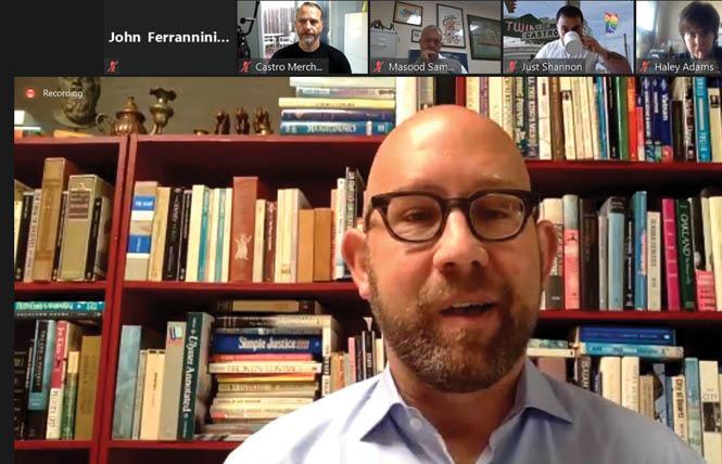 District 8 Supervisor Rafael Mandelman spoke to members of the Castro Merchants business group during their August 6 meeting. Photo: John Ferrannini screengrab via Zoom