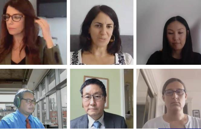SFMTA board nominees Jane Natoli, lower right, and Sharon Lai, upper right, appeared for the virtual Board of Supervisors rules committee meeting Monday. Photo: Screengrab via SFgovtv