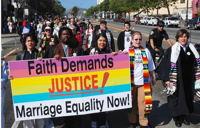 Clergy members and supporters, totaling more than 200 people, marched to Civic Center on March 26, 2009, following a negative decision on Proposition 8 by the California Supreme Court. Photo: Rick Gerharter
