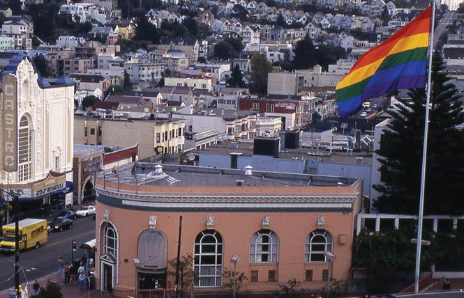 The rainbow flag flies at Harvey Milk Plaza in the Castro. Photo: Rick Gerharter