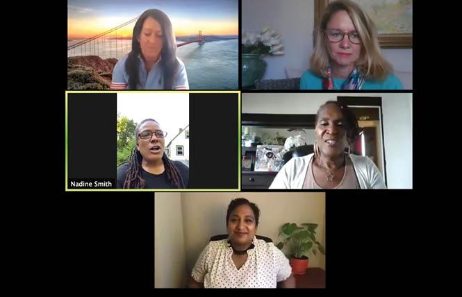 Clockwise from top left, Kate Kendell, Katherine Rice, Andrea Jenkins, Sunu Chandy, and Nadine Smith talked about LGBTQ issues and the new Biden-Harris Democratic presidential ticket. Photo: Screenshot via Zoom