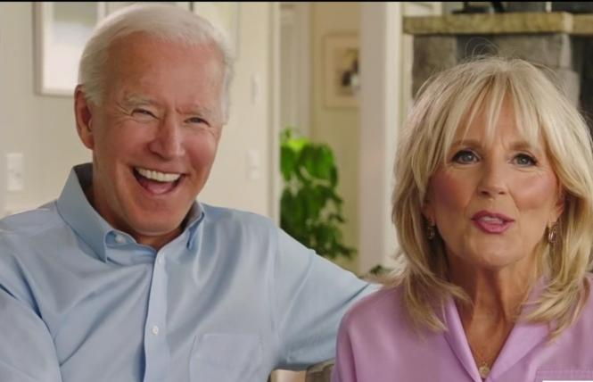 Democratic presidential nominee Joe Biden appeared in a video with his wife, Jill, during Tuesday's convention. Photo: Screengrab via DNC