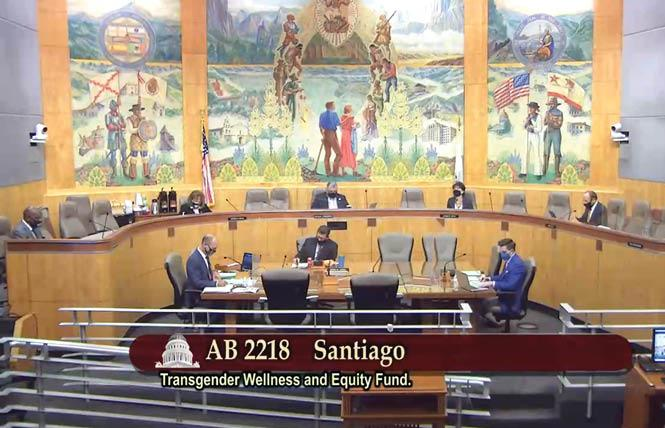 The Senate Appropriations Committee passed AB 2218 Thursday but the bill to establish a transgender wellness fund still has to clear the full Senate. Photo: Screengrab via John Ferrannini