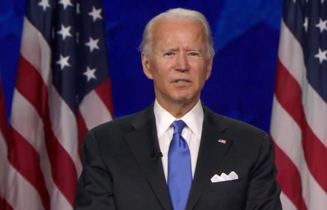 Joe Biden accepts the Democratic nomination for president Thursday. Photo: Screengrab
