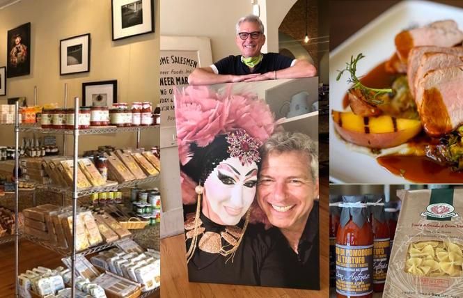 The restaurant's namesake, Sister Roma, and owner Matt Leum in an enlarged photo (center) and the various menu and shop items (left and right).
