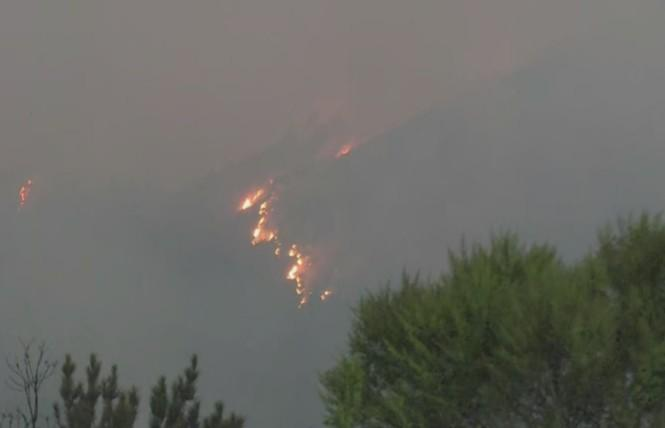 Fires burned this week near Guerneville. Photo: Courtesy CBS5