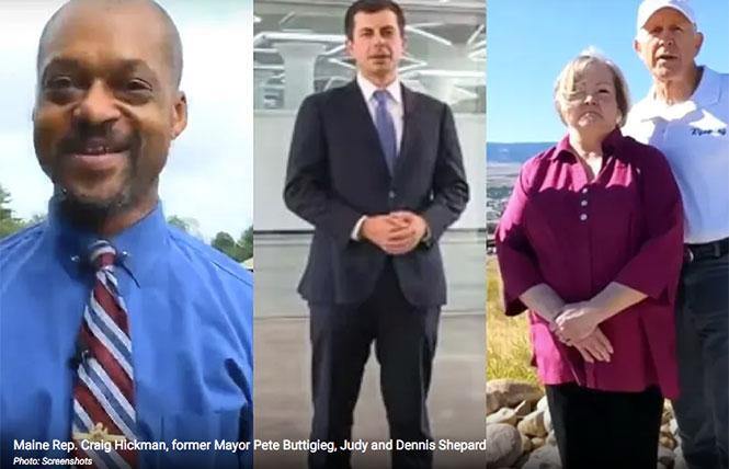 Maine Rep. Craig Hickman, former Mayor Pete Buttigieg, and Judy and Dennis Shepard represented their home states in the Democratic National Convention's online roll call.