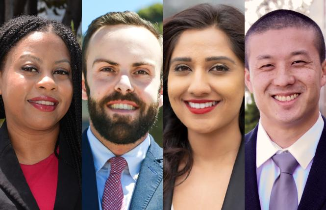 City College of San Francisco board President Shanell Williams, Vice President Tom Temprano, and candidates Aliya Chisti and Alan Wong have the B.A.R.'s endorsement for November. Photos: Williams, Rick Gerharter; Temprano, Chisti, and Wong courtesy of the candidates.
